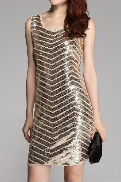 Pure Slim Sequined Beaded Dress JGb