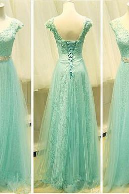 Pretty Mint Appliques Prom Dresses For Teens, Lace Tulle Prom Dresses, Made Prom Dresses,Back Up Lace Prom Dresses On Sale