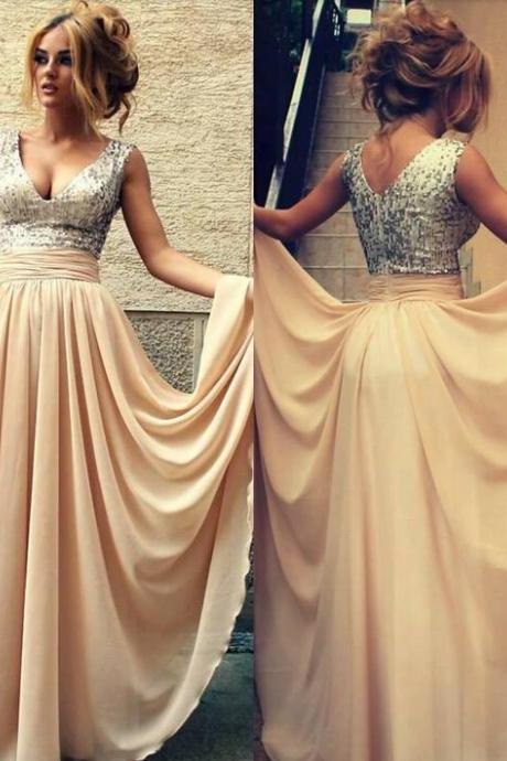 Custom Made Sexy Champagne With Sequins V-Neck Long Prom Dresses For Teens ,Modest Evening Dresses