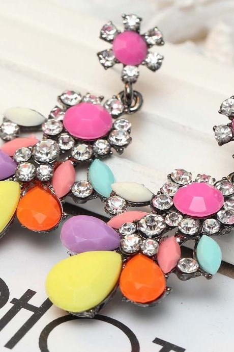Colourful Drop and Dangle Crystal Earrings