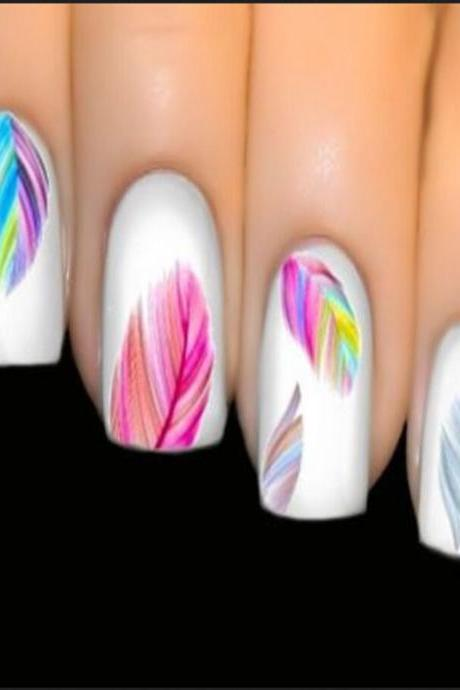 Colorful Feature Water Transfer Decal Nail Art Tips Sticker Decal Rainbow Dreams