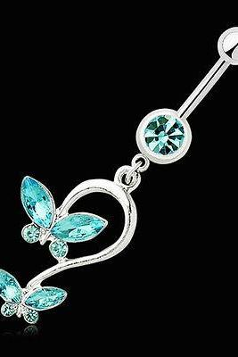 New Butterfly Crystal Dangle Button Barbell Bar Belly Navel Ring Body Piercing