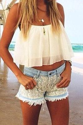 Hot Sexy Women Girls Summer White Spaghetti Strap Chiffon Blouse Shirt Crop Tops