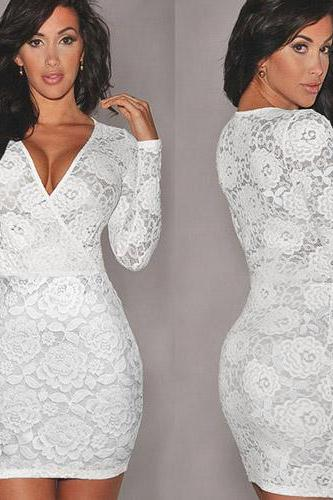 Fashion V-Neck Long Sleeve Slim Fit Lace Party Dress
