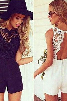 Lace Open Back Romper