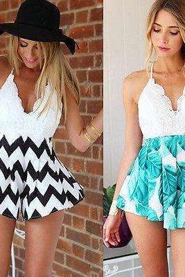 Cross Back Lace Romper