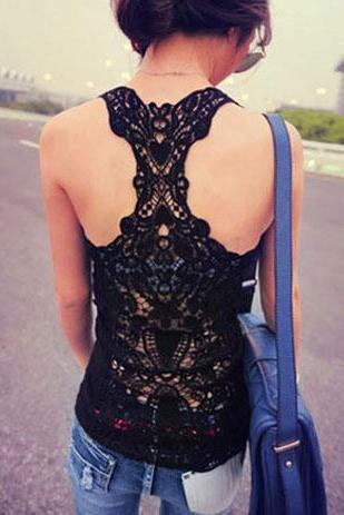 Crochet Lace Racer Back Tank Top Camisole Vest Basic Layer [Grxjy561093]