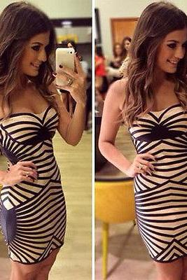 New Fashion Women Sleeveless Blue White Striped Casual Mini Dress Fall Spring
