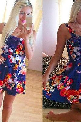 Womens Sleeveless Multi Floral Printed Slim Mini Dress Evening Party Dresses