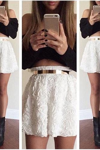 Girls Women Black Sexy Tops+White Floral Skirts Bodycon Party Night Clothing set