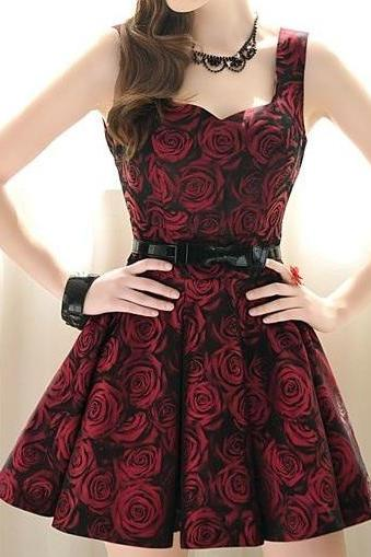 Dark Red Rose Dress