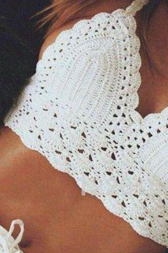 Sexy Handmade Crochet Cover Up Knitted Bikini