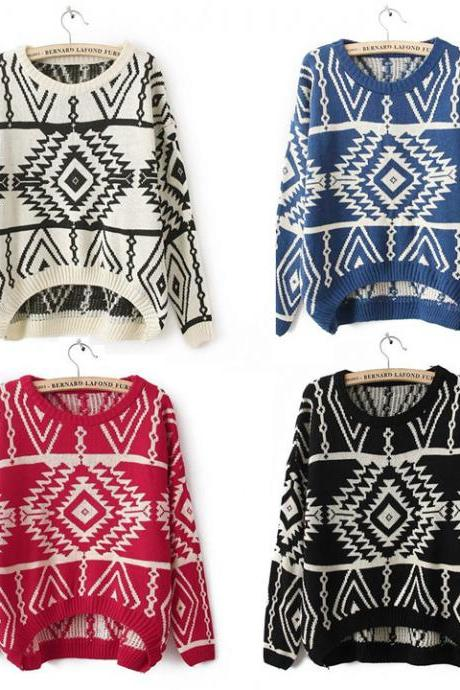 Women Vintage Asymmetric Tribal Style Pullover Tops Euro Geometric Printed Knitwear Sweater