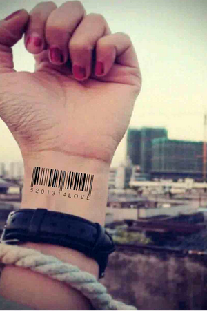 4 Pieces Cool Barcode Waterproof Tattoo Stickers