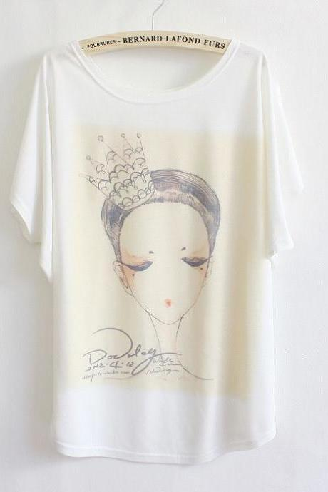 Face portrait Short Sleeves Summer Top Girl Tee
