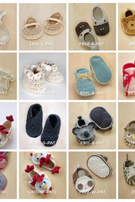 Crochet Pattern 10 for USD43 Baby Booties by Kittying