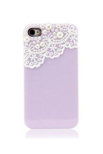 Hand Made Lace And Manmade Pearl Purple Hard Case Cover For IPhone 4 4S GHS