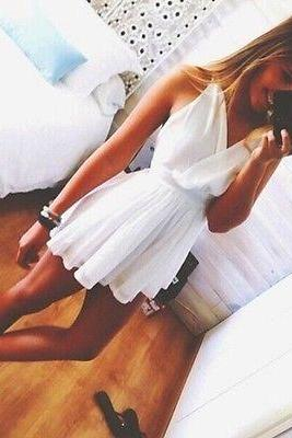 2014 Summer New Fashion White Dress Cute Flowy V-neck Dress Loose Dress
