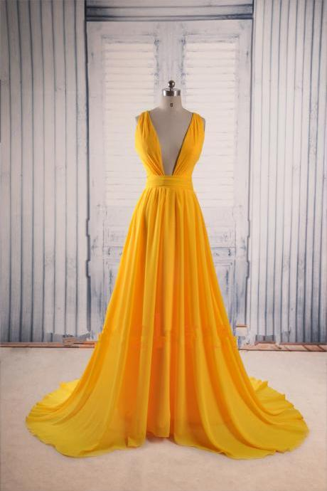 Yellow Chiffon Plunge V Sleeveless Floor Length Formal Dress Featuring Criss-Cross Open Back, Prom Dress