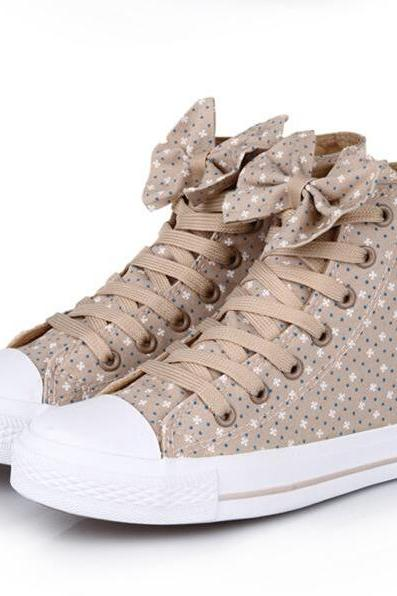 Casual Canvas Shoes Bow Flowers
