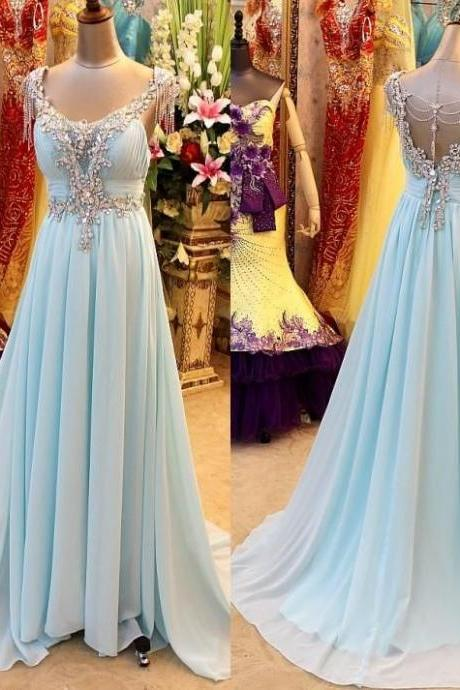 Pd388 Charming Prom Dress,Chiffon Prom Dress,A-Line Prom Dress,V-Neck rom Dress,Crystal Prom Dress