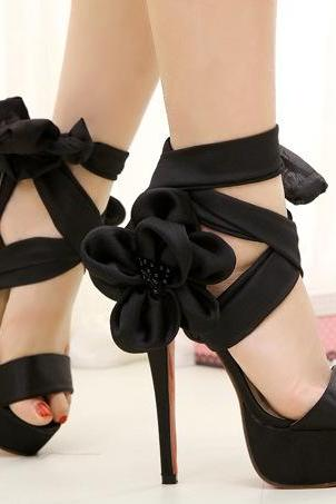 Ribbon Flowers Sexy High Heels