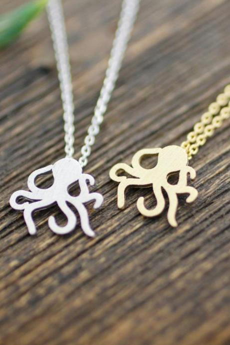 Cute Octopus silhouette Necklace in 3 colors