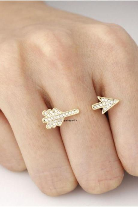 Arrow ring detailed with CZ in 3 colors- Adjustable Ring, R0292S