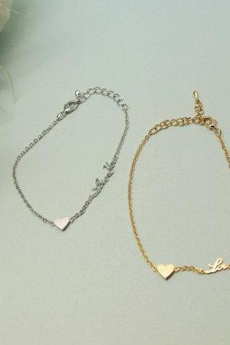 LOVE YOU and HEART charm pendant Bracelet in Silver /Gold