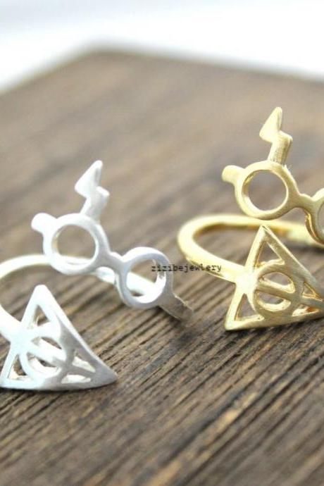 Cute Harry Potter Glasses and Deathly Hollows Adjusted Ring in 2 colors, R0210S