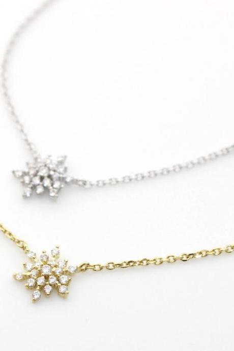 Snowflake Necklace detailed with CZ in 3 colors