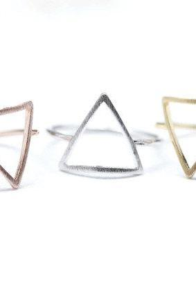 925 sterling silver Open Triangle ring in 3 colors