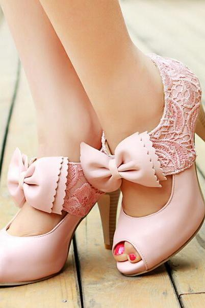 Fashion Lace Big Bow High-Heeled Sandals