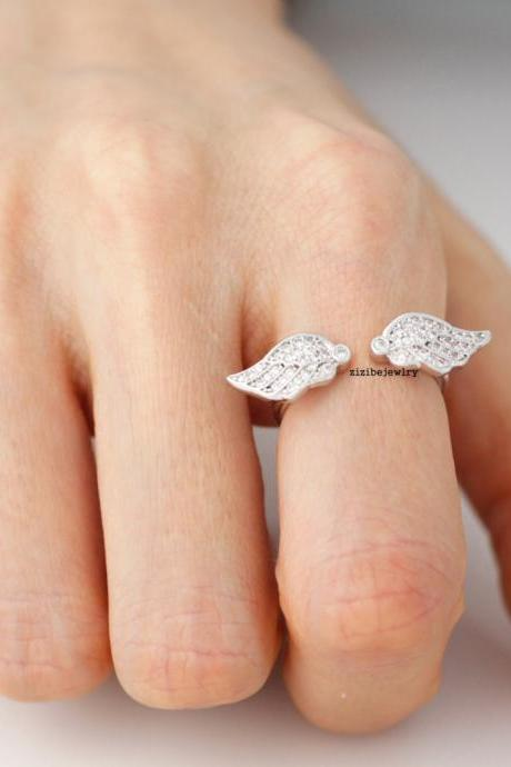 Angel Wing ring detailed with CZ in 3 colors- Adjustable Ring