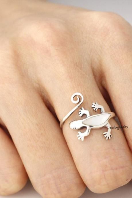 925 sterling silver unique lizard rings - Adjustable Ring, R0053S