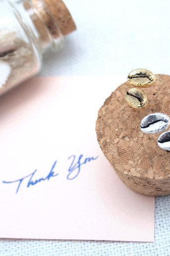 Coffee Bean Stud Earrings in Gold / Silver