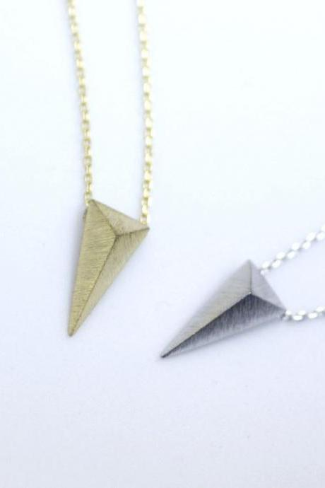3D long triangle necklace in gold / silver / pink gold