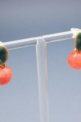 Fruity and Fresh Handmade Gemstone post earrings -Peach jade /Labradorite