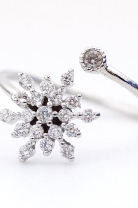 Snowflake Adjustable Ring detailed with CZ in 3 colors