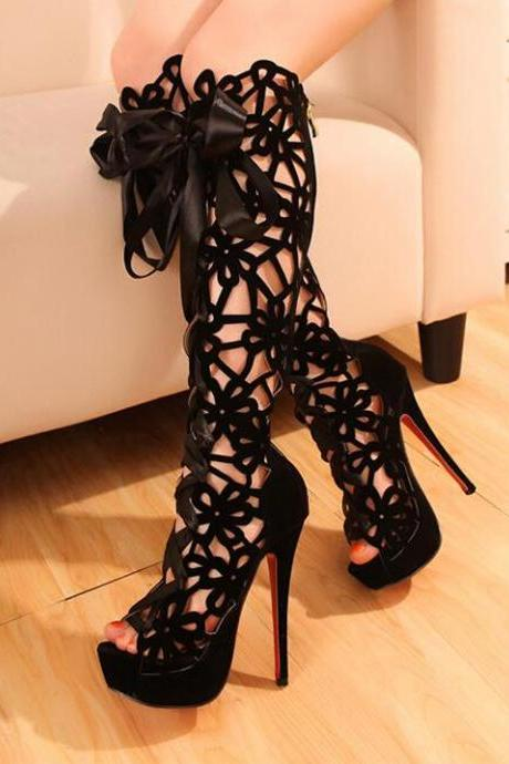 Spring And Summer High-Heeled Boots Lace Boots