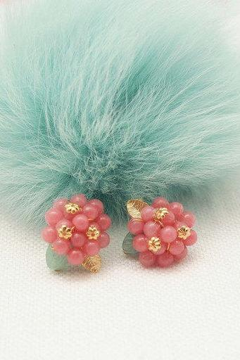 Pink Jade Cluster and jade leaf post Earrings- RASBERRY