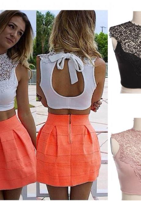 New Women's Women's Sheer Backless Sleeveless Short Vest Hollow Out Lace Sexy Tank Tops