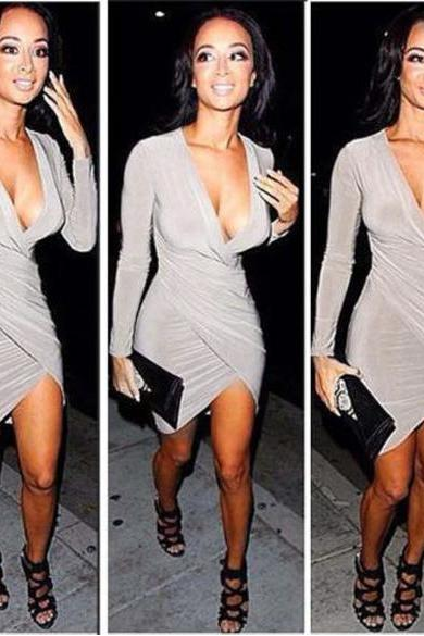 Deep-V Neck Long Sleeves Pencil Dress
