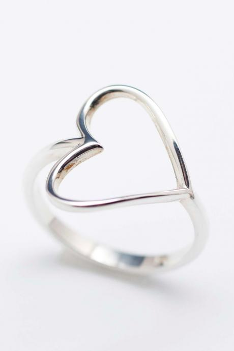 925 sterling silver Sideways Open Heart Ring