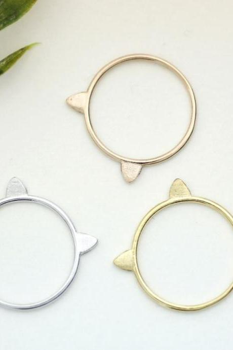 Cat Ears Ring Stacking Ring, kitty cat ring in 3 colors, R0102K