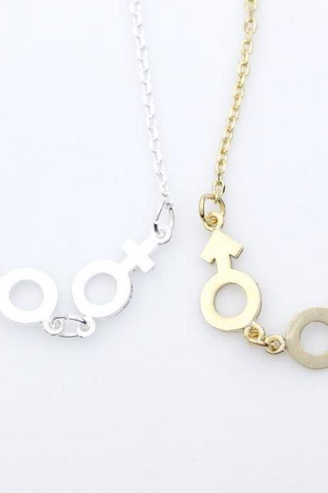 Male And Female symbol pendant necklace in gold / silver- Gender symbol