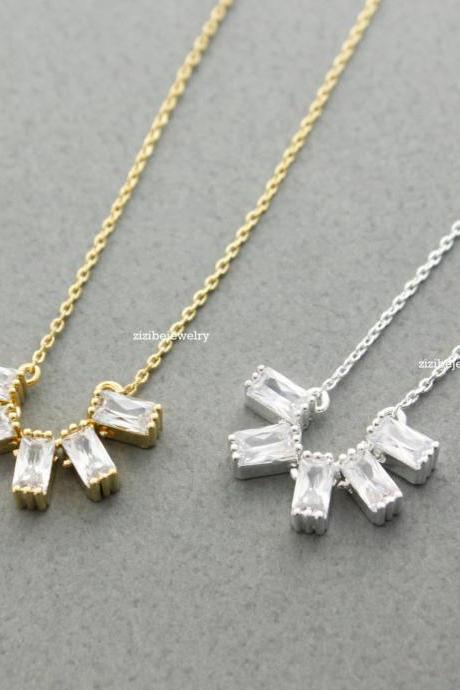5 Square Cubic Zirconia Setting Necklace gold / silver, N0371G