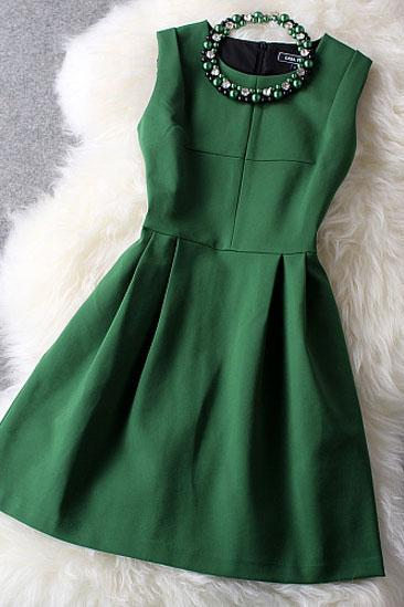 Beaded Dress In Dark Green