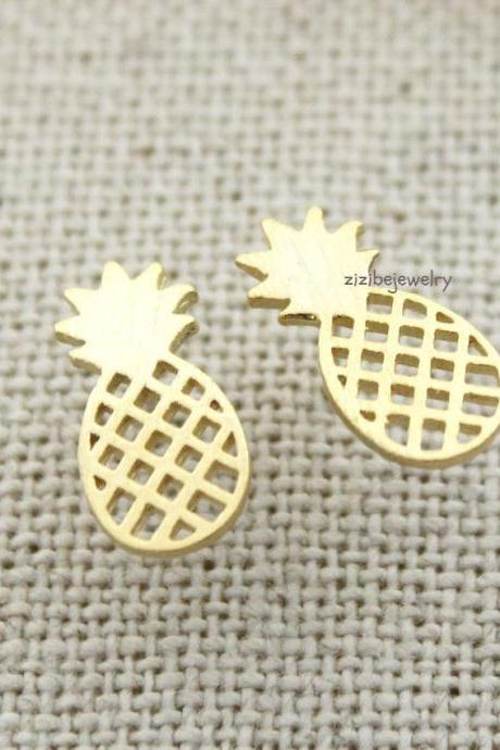 Cute Pineapple stud earrings in 3 colors, E0293K