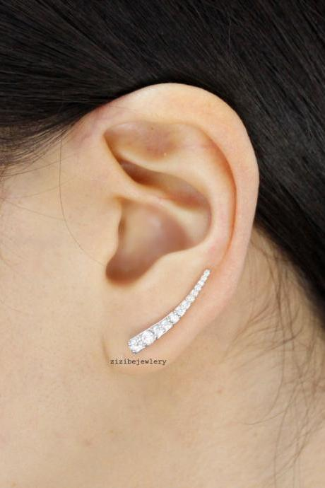 Cubic Curved Bar Ear pin ,Earcuff , Ear cuff style Stud Earrings in 3 colors ,E0464S